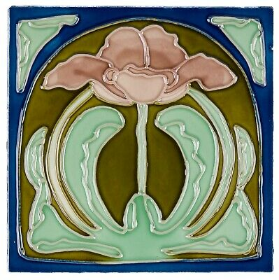 Set  of 10 ceramic replika art nouveau tiles handpainted in antique style set(d)