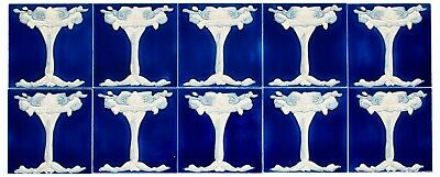 Set of 10 ceramic replika art nouveau tiles in antique style handpainted set(g)