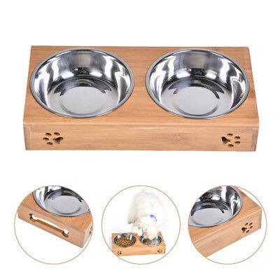 Raised Pet Bowls Elevated Dog Cat Dishes Modern Bamboo Stand Stainless Steel New