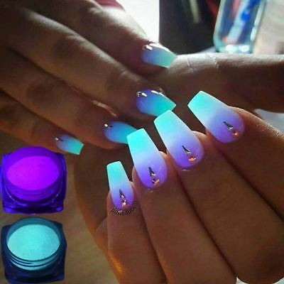 1 Box Neon Phosphor Powder Nail Glitter Powder 10 Colors Dust Luminous Pigment