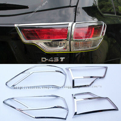 For Toyota Highlander 2015-2017 ABS Chrome Rear Tail Light Lamp Cover Trim 2pcs