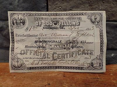 1913 Independent Order Odd Fellows Official Certificate Receipt Bloomingdale IN