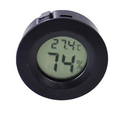 Round Digital Cigar Humidor Temperature Hygrometer Thermometer Tool Black