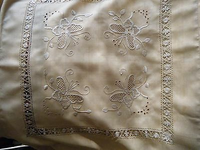 Victorian French boudoir silk pillow cover hand needle emb/ry & drawn work lace