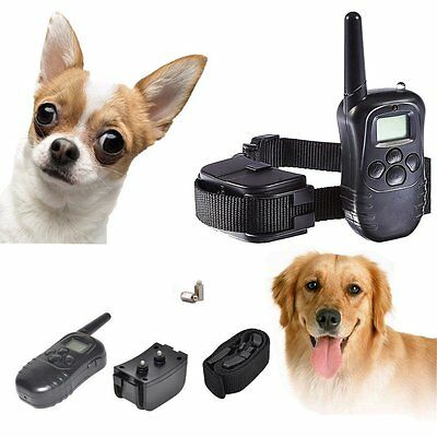 Remote LCD 100LV Electric Shock Vibrate Pet Dog Training Collar Anti Barking