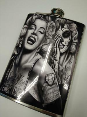 Petaca acero vintage retro stainless steel hip flask Marilyn catrina