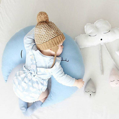 Comfortable Baby Pillow Cushion Moon Shape Soothing Appeasing Pacifying Blue