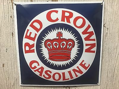 """Red Crown Gasoline ~Beautiful Porcelain Sign 12""""x 12"""" FREE SHIPPING!"""