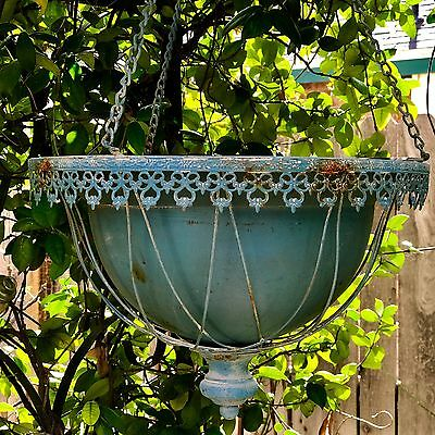Antique Cottage Style Metal Wire Hanging Garden Planter