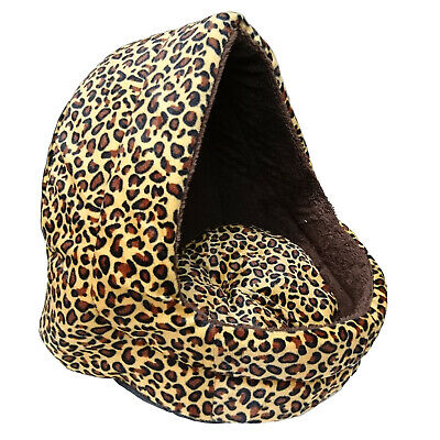 Soft Leopard Pet Dog Cat Bed House Kennel Doggy Puppy Warm Basket Pad