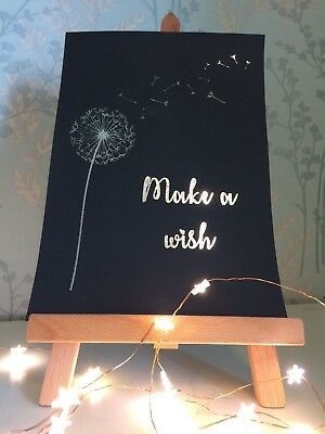 Make a Wish - Real Foil Quote - Inspirational Art - Foil Print - Many Colours