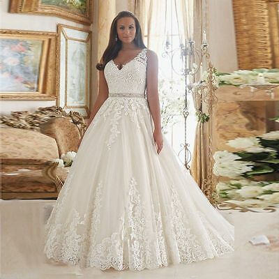 2017 White-Ivory-Lace-Beads-Bridal-Gown-Wedding-Dress-Stock-Plus-Size-14W-26W