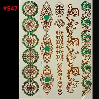 style body art painting tattoo stickers glitter Metal gold silver temporary flas