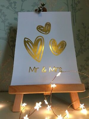 Mr & Mrs - Real Foil Quote - Love Relationship Art - Foil Print Many Colours