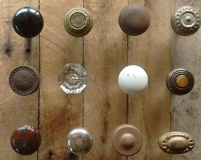 Antique Vintage Old Victorian Brass Porcelain Glass Iron Door Knob Lot- 12 Knobs