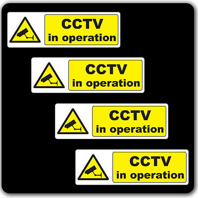 Pack of 4 CCTV in operation Warning Stickers Sign - Car Taxi Home Window