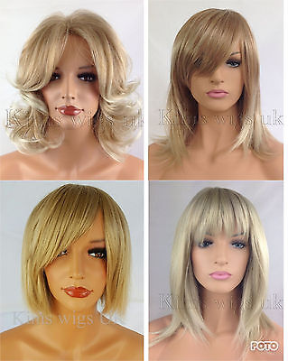 Short Blonde Ladies Womens  Fashion Hair Wig  Straight  Curly Layered Fringe Bob