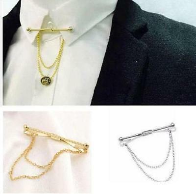 Mens Neck Tie Shirt Pin Tie 5.5 cm Bar Collar Clip Clasp With Chain