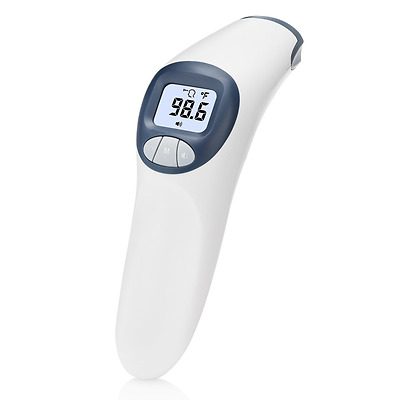 Forehead and Surface Thermometer with Customizable Fever Alert, Quiet Option and