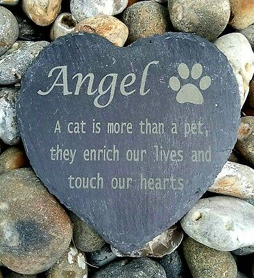 Personalised Engraved Slate Stone Heart Pet Memorial Grave Marker Plaque cat