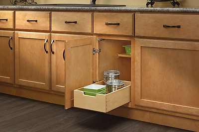 Rev-A-Shelf 4WDB-12-Small Wood Base Cabinet Pull-Out Drawer, Natural