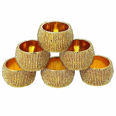Beaded Napkin Rings Set of 6 Golden Decorations Christmas Ornaments