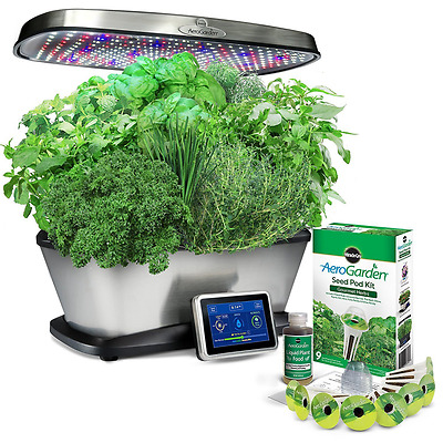 Miracle-Gro AeroGarden Bounty Elite with Gourmet Herb Seed Pod Kit, Stainless St