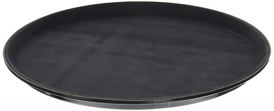New Star 25033 NSF Plastic Round Rubber Lined Non-Slip Tray, 14-Inch, Black