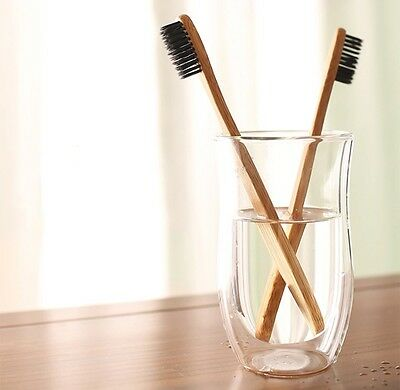 Pack Of 2 Natural Bamboo Toothbrushes-Charcoal Bristles-Free 1St Class Shipping