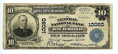 $10 1902 National Currency Central Bank Richmond VA  Large US Note AA0877
