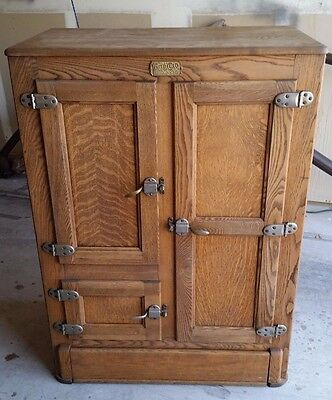 Antique Ice Box - White Clad - Year 1915 - Great Shape - Free Shipping