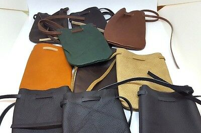 10 PC Lot Wholesale Genuine Leather Draw String Marble Jewelry Coin Keys Pouch