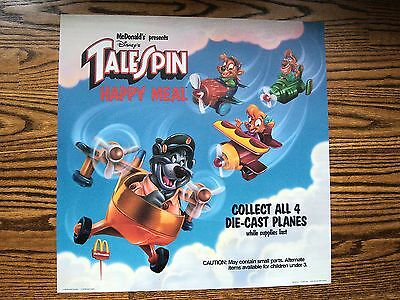 McDonald's 1990 Disney's Tale Spin Happy Meal Sign