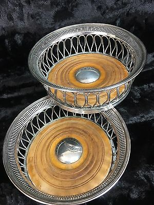 PAIR Stunning ANTIQUE SILVER Plated COPPER Wood Liner Wine Bottle COASTERS OLD