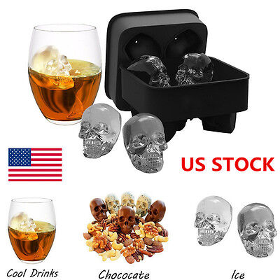 US 1-3X Whiskey Silicon Ice Cube Maker Mold Mould 3D Skull Halloween Party Tray
