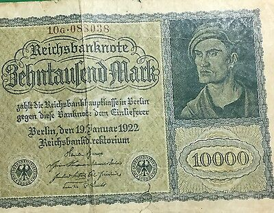 "1922 $10,000 German Mark ""VAMPIRE"" NOTE Old LARGE SIZE Currency"