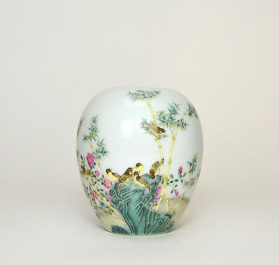 Superb Old Chinese Famille Rose Egg Form Porcelain Water Pot with Bird & Bamboo