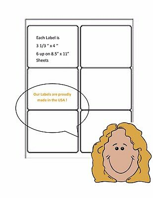 """6 up labels Blank White Quality Laser/Inkjet Labels  Each Label is 3 1/3"""" X  4"""""""