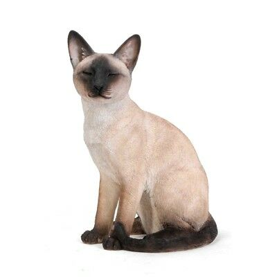 Cat Siamese Realistic Life Like Adult Cat Sitting Home Garden Decor Statue