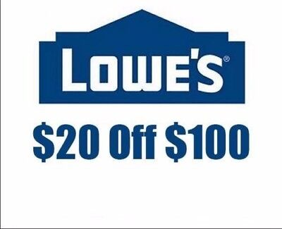 Three (3x) Lowes $20 Off $100 Coupon(Instore & Online) Exp 10/22 lnstant Delivry