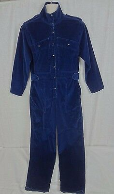 Vintage 1970's Le Painty Paris Dark Blue One Piece Corduroy Jumpsuit ~ Size 42