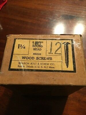 Vintage #12 X 1 3/4 Inch ROUND Head BRASS SLOTTED Wood Screws 100 per box-USA