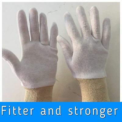 White Cotton GLOVES BOXING  Inners Sweat liners  wrist cuff washable size 8