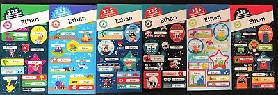 225 Personalised Name Labels For Ethan - Back To School Fun Stickers Kids Diy