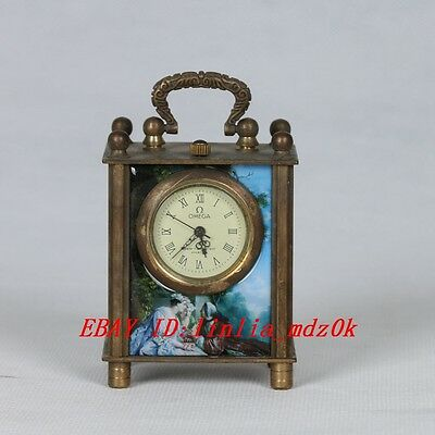 Collectible Old Chinese cloisonne Handwork Mechanical Table Clock