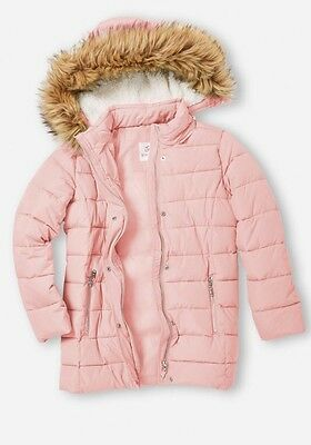 NWT Justice Pink Puffer Coat With Faux Fur Hood. Size 8/10.