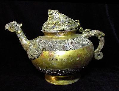 Chinese Gilt bronze pot cock mouth silver signed handle pot Lid Dragon handle