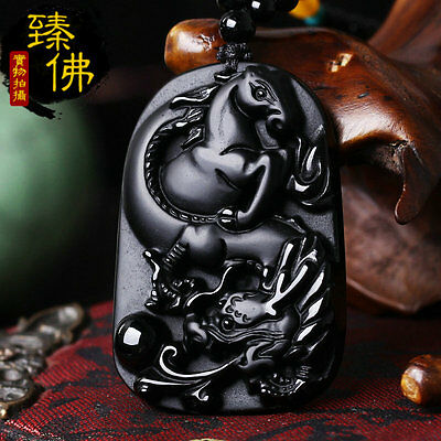 New Natural Black Obsidian Hand Carved Dragon Horse Lucky Pendant Beads Necklace
