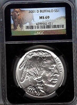2001-D Buffalo  Commem Silver $1  -  Ngc -  Ms69  - Mint State 69 Retro Holder <