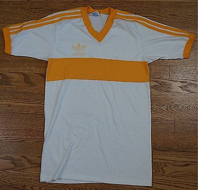 Rare Vintage ADIDAS Spellout Trefoil Logo Tee Soccer Jersey Shirt White M